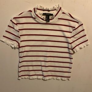 Forever 21 red and white striped crop top